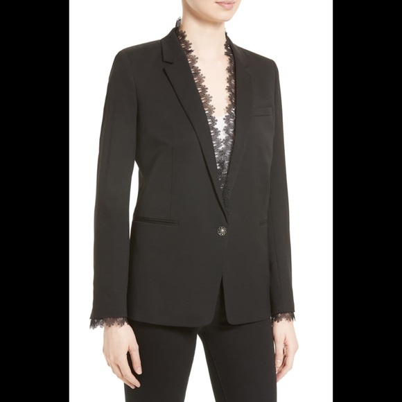 The Kooples Jackets & Blazers - The Kooples Black Stretch Smoking Jacket Blazer